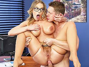 Obedient mature secretary gets her greasy big ass plowed by her young boss