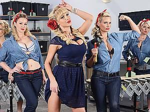 Militant womens Nikki Benz, Abbey Brooks and Phoenix Marie love big toys
