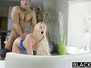 Golden haired Payton Simmons taking ebony dick hard