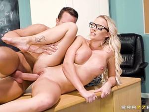 Breasty teacher fucks a young cock and solves a major math problem