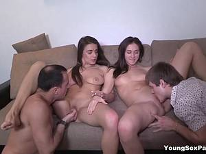 An extra person joins in on the threeway fun