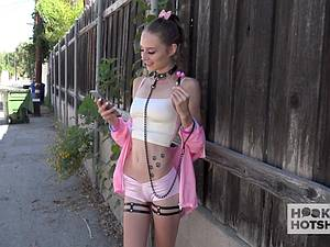 Petite teen in pink has her tight pussy stretched