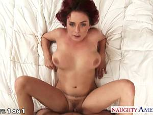 Redhead sweetheart Ashlee Graham rubs her hairy hole