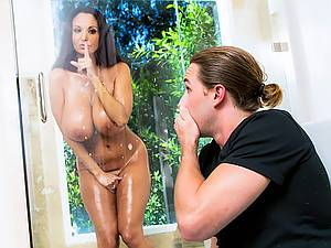 Horny milf with big tits Ava Addams seduces her stepson in the bathroom